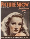 Marlene Dietrich on the cover of Picture Show (United Kingdom) - December 1936