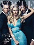 Andres Velencoso, Anja Rubik, Jon Kortajarena on the cover of Vogue (Spain) - March 2011