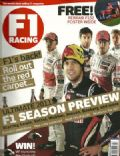 Ayrton Senna, Jenson Button, Lewis Hamilton, Mark Webber, Nico Rosberg, Sebastian Vettel on the cover of F1 Racing (United Kingdom) - January 2011