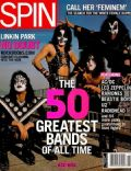 Ace Frehley, Gene Simmons, Paul Stanley, Peter Criss on the cover of Spin (United States) - February 2002