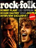 Robert Plant, Roger Daltrey on the cover of Rock and Folk (France) - April 1973