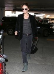 Vanessa Paradis: departing on a flight at LAX airport in Los Angeles