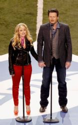 Miranda Lambert and Blake Shelton at Super Bowl XLVI (February 5)