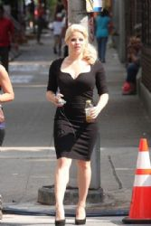 Megan Hilty looks sexy in her black dress on set of Smash
