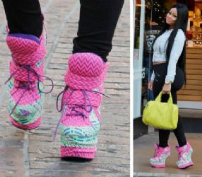 Blac Chyna's Shopping Privileged Pink Heelless Sneaker Wedges