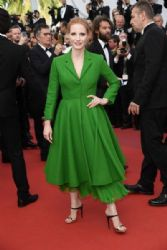 Jessica Chastain in Dior Coat : 'The Meyerowitz Stories' Red Carpet - The 70th Annual Cannes Film Festival