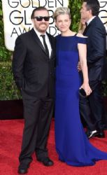 Ricky Gervais and Jane Fallon: 72nd Annual Golden Globe Awards 2015- Arrivals