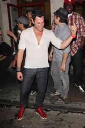 Maksim Chmerkovskiy rocking out with his brother, Valentin Chmerkovskiy, as he sings karaoke outside of the club SUR in Hollywood