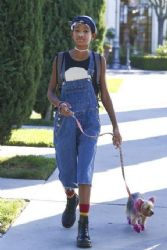 Willow Smith: took her pink dog for a walk in Calabasas