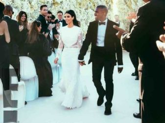 Kanye West's First Photos as a Married Couple