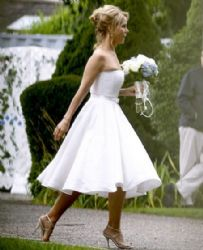 Cheryl Hines in her wedding dress at  Cape Cod in Massachusetts