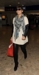 Frankie Sandford: arrives at Heathrow Airport on a flight from Dublin