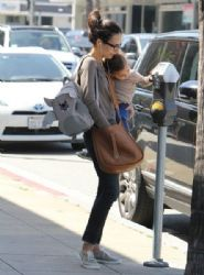 Jordana Brewster: taking her son Julian to see his doctor in Beverly Hills