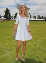 Jennifer Hawkins attends Paspaley Polo in the City at Albert Park