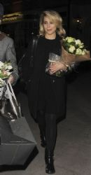 Dianna Agron: exiting the St. James Theatre after the opening night performance of her play McQueen in London