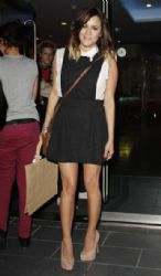 Caroline Flack returns to her hotel in Manchester