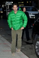 Luke Wilson wears a puffy green jacket as he arrives at the 'Late Show with David Letterman' in NYC