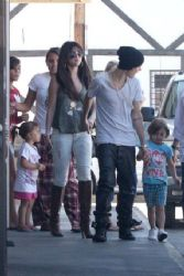 Justin Bieber and Selena Gomez: ventured over to Sushi Dan in Studio City for lunch