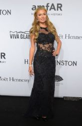 Paris Hilton wears Macduggal - 2015 Amfar New York Gala