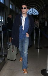 John Mayer Arrives at L A X