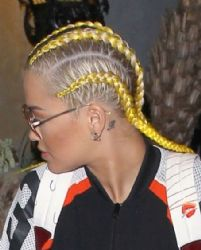 Rita Ora shows off her blonde cornrows on a night out at El Compadre restaurant