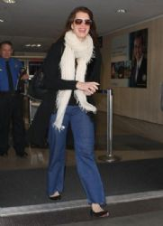 Brooke Shields: arriving on a flight at LAX airport in Los Angeles