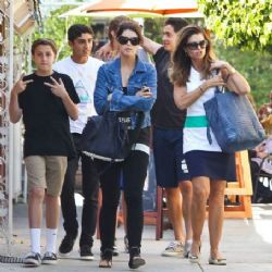 Maria Shriver: out for lunch with some of Patrick's friends in Brentwood