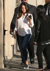 Mila Kunis: making an appearance on 'Jimmy Kimmel Live!' in Hollywood