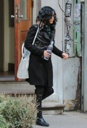 Vanessa Hudgens: leaves her apartment and heads to her Broadway show in New York City