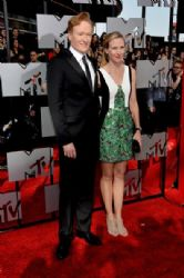 Conan O'Brien and Liza Powel O'Brien: 2014 MTV Movie Awards - Arrivals