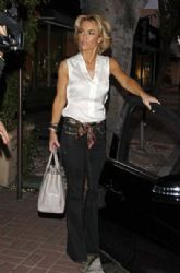 Kelly Carlson seen leaving popular restaurant Madeo's in Hollywood after a dinner date with friends