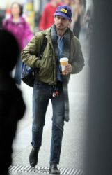 Shia LaBeouf getting a coffee at a coffee shop on Granville Street in Vancouver, Canada