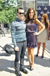Kevin and Danielle Jonas make their way into the tents at Mercedes Benz Fashion Week 2012 in New York City