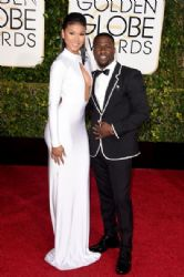 Eniko Parrish and Kevin Hart: 72nd Annual Golden Globe Awards 2015- Arrivals