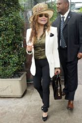 Latoya Jackson is seen leaving Kathy Hilton's birthday lunch at Il Cielo in Los Angeles