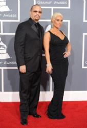 Rapper Ice-T and wife Coco arrive at the 54th Annual GRAMMY Awards