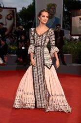Actress Alicia Vikander attends a premiere for 'The Danish Girl' during the 72nd Venice Film Festival at on September 5, 2015 in Venice, Italy