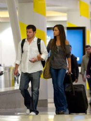 Nick Lachey and Vanessa Minnillo catch a late flight at Los Angeles International Airport (LAX)