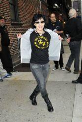 Rocker Joan Jett arrives wearing a Foo Fighters t-shirt to appear on