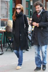 Cintia Dicker and a male friend out for lunch at Bar Pitti in New York City, NY on March 3, 2012