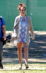 Britney Spears smiles as she watches her sons, Jayden and Sean Federline, as they play in a soccer match at a LA park