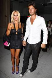 Shauna Sand and young husband Laurent Homburger leaves after attending an event in West Hollywood