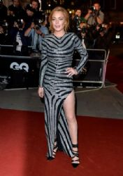 Lindsay Lohan wears Balmain - British GQ Men Of The Year Awards