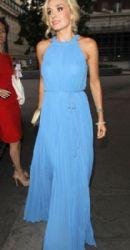 Katherine Jenkins arrives at the Argiva Radio Awards in London, England dressed in a light blue long elegant dress on July 4, 2012