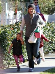 Gabriel Aubry picks up his daughter Nahla from school in Los Angeles, California on January 16th, 2013
