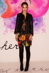 Katie Holmes attends the Desigual fashion show during Mercedes-Benz Fashion Week
