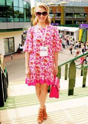 Natalie Dormer wears Alice by Temperley - Evian Live Young Suite at Wimbledon