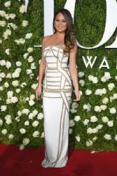 Chrissy Teigen in Pamella Roland Dress : 2017 Tony Awards