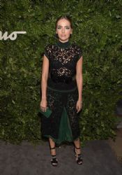 Camilla Belle wears Black and Green See Through Dress by Ferragamo
