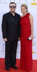 Jane Fallon and Ricky Gervais: 64th Annual Primetime Emmy Awards in Los Angeles
